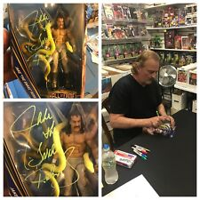AUTOGRAPHED JAKE THE SNAKE ROBERTS HALL OF FAME SERIES FIGURE (GREEN)