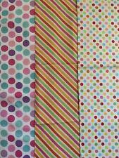 Fabric bundle 3 X large 100% cotton remnants. All Riley Blake Multi spots stripe