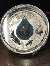 CANADIAN UNDERWATER LIFE 1 oz .9999 Silver Colorized 3D WATER DROPLET Coin