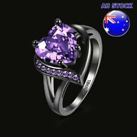 Black Gunmetal Anodized Purple CZ Crystal Love Heart Bride Ring