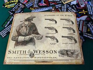 Smith and Wesson Revolver Manufacturer Tin Metal Sign Rifle Gun W/ FREE PATCH!