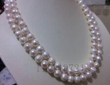 10-11mm weiße Süßwasser Perlenkette 90CM