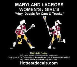 Maryland Lacrosse Decal Car Sticker Girl's Women's Lax Stick NCAA MD Flag Shirt