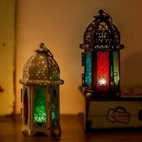 Hanging Moroccan Style Glass Lantern Light Candle Holder Home DIY Decor Z8M5
