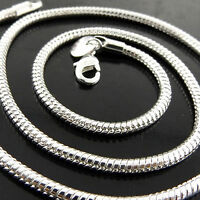 A324 GENUINE REAL 925 STERLING SILVER SF SOLID FINE SNAKE PENDANT NECKLACE CHAIN