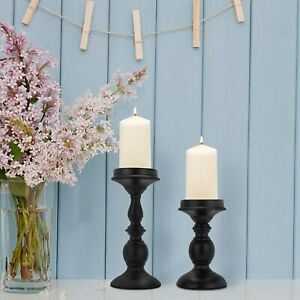 Set of 2 Metal Pillar Vintage Candle Holders Home Wedding Party Decoration
