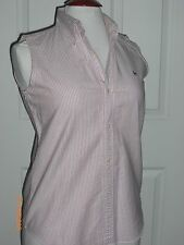 RALPH LAUREN POLO SPORT Sleeveless Cotton Striped Red/White Shirt Top Tank  Sz 8
