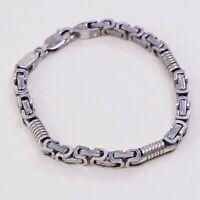 "7.5"", Vtg Sterling Silver Handmade Bracelet, 925 Wheat Birdcage Byzantine Chain"