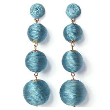 4 -TIERS OF ICY BLUE SILKY SHEEN DISCO BALL DROP STATEMENT EARRINGS