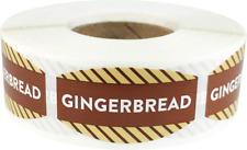 Gingerbread Grocery Market Stickers, 0.75 x 1.375 Inches, 500 Labels Total
