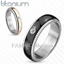 FAMA Titanium Grooved Step Edge Center CZ Couples Wedding Ring Band Select Size