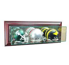 New Wall MountedTriple Mini Helmet Glass Display Case UV FREE SHIPPING 3 Colors