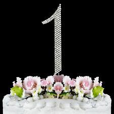 Large Rhinestone NUMBER (1) Anniversary Birthday Wedding  Cake topper FREE SHIP