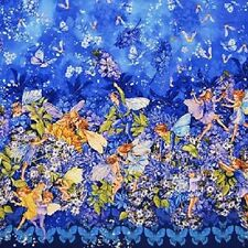 MICHAEL MILLER DAWN TILL DUSK SUNKIST FLOWER FAIRIES BORDER FABRIC METALLIC