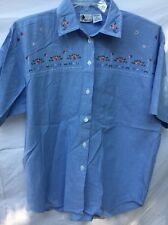 NEW LOOK brand BLUE FLORAL EMBROIDERY 100% COTTON BUTTON DOWN SHIRT SIZE L