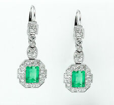 GIA 7.14CT ANTIQUE VINTAGE COLOMBIAN GREEN EMERALD DIAMOND DROP DANGLE EARRINGS