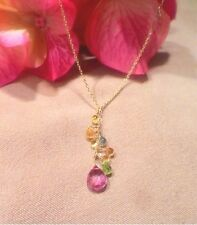 """pink topaz yellow sapphire peridot gemstone cluster solid 18k gold necklace 16"""""""