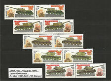USSR 1984...PANZERS..MNH...Танки Памятники...2 x Сол. 5467-5471...(10 Stamps) ²