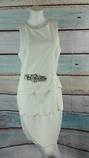 BADGLEY MISCHKA Ivory Sleeveless Tiered Belted A-line Layered Dress Sz 10