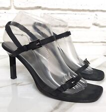 839a2dcb4cfd ESCADA BLACK Satin STRAPPY EVENING HEELS High Heel SHOES Italy SIZE 9.5