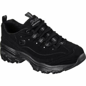 NEW D'lites Skechers Black Shoes  Women leather Sport Casual Comfort Memory Foam