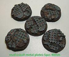40MM RESIN BASES 5pcs METAL PLATES WARHAMMER 40K