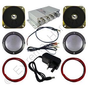 Wangma WM-333 Stereo Amplifier & 2 x Speakers, Grills, Wires, PSU Kit for Arcade
