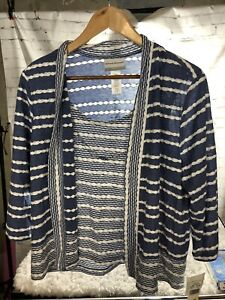 Alfred Dunner Pearls Of Wisdom 2 For 1 Necklace Striped Knit Top. Petite M. Nwt