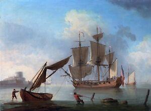 Maritime Marine Art An English Sloop Becalmed near the Shore Swaine Francis