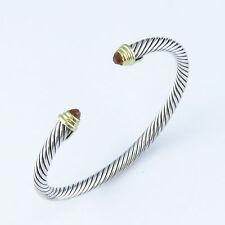 NYJEWEL David Yurman Sterling Silver 18K Gold Citrine 4mm Cable Cuff Bracelet
