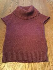 BCBG Max Azria Short Sleeve Wool Blend Wine Colored Womens Sweater in Size S