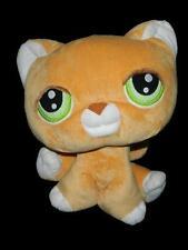 """Littlest Pet Shop  16"""" Large Plush Orange Kitty Cat 2007 51725 50698 Green Eyes"""
