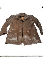 1970s Genuine Leather Jacket Quality Cognac Zig Zag Stiching Gangster Vintage