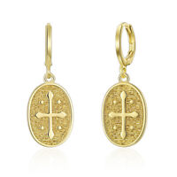"Roberto Inspired Coin 18K Yellow Gold & Crystal Cross 2"" Drop Dangle Earrings"