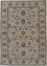 Traditional Oriental Inspired Blue, Salmon Pink and Beige Wool Rug N11352