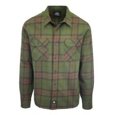 Dickies Men's Dark Green & Brown Plaid Brownsburg L/S Flannel Shirt (S07)