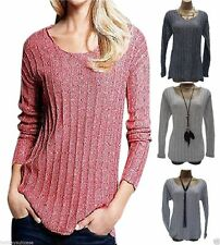 Hip Length Long Sleeve Collarless Tops & Shirts for Women