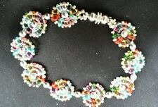 Colorful super duo bracelet 7 inches handmade silver bead trimmed