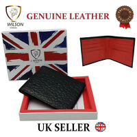 "Designer ""J Wilson"" Real Genuine Mens Leather Wallet Crocodile Look Red Black"