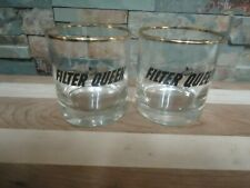 VINTAGE FILTER QUEEN VACUUM PROMOTIONAL DRINKING GLASSES-1960'S-PAIR-ROCK-RARE