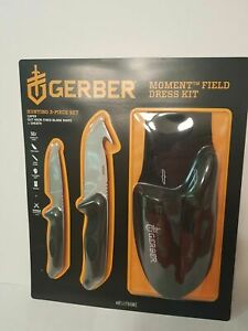 GERBER KNIFE MOMENT 3 PC HUNTING FIELD DRESSING SET with Belt Carrying Case