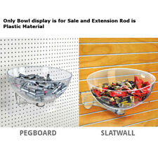 """Clear Plastic Retail Hanging Bowl Display 10"""" D x 16"""" Dia. for Pegboard/Slatwall"""