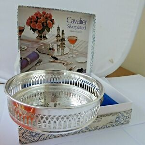 Box Vintage Cavalier Large silver plate Chased Wine Champagne Bottle Coaster 5.5