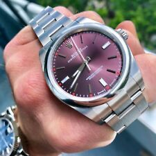 BRAND NEW Rolex Oyster Perpetual 114300 Red Grape Steel 39mm Watch w/ Rolex Card