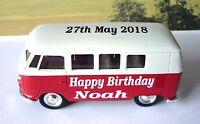 Happy Birthday PERSONALISED NAME Red VW CAMPER VAN BUS Toy Model Present