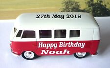 Happy Birthday PERSONALISED NAME Red VW CAMPER VAN BUS Toy Model Present