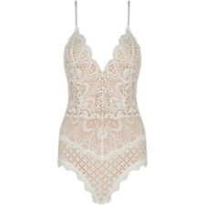 New Strappy Plunge V Neck Floral Eyelash Lace Nude Lined Bodysuit Bodycon Top