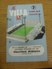 17/02/1962 Aston Villa v Charlton Athletic [FA Cup] (Punched Holes, Folded, slig