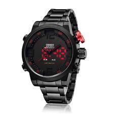 Ohsen Black Stainless Steel Analog Digital Sport Type Red LED Mens Wrist Watch
