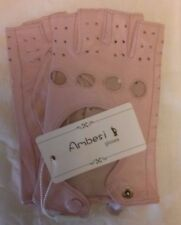NEW Ambesi Womens Classic 1 2 Finger Leather Driving Gloves Pink